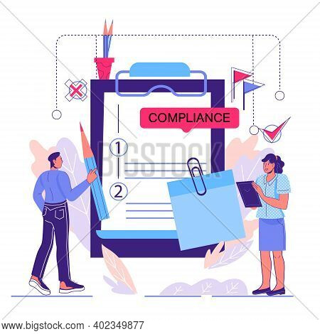 Regulatory Compliance Concept With Tiny Business People, Cartoon Vector Illustration Isolated On Whi