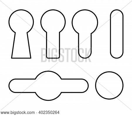 Keyhole Outline Symbol Set. Line Contour Shapes Collections With Lock Holes Icons. Concept Of Spy Pr