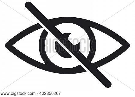No Eye. Black Crossed Eyeball Icon. Concept Of Avoid Look At Hidden Confidential Secret Like Passwor