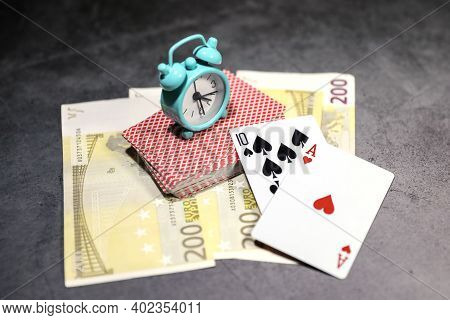 A Pair Of Aces On A Deck Of Poker Cards With Euro Banknotes On A Table. Online Gambling. Gambling Ad