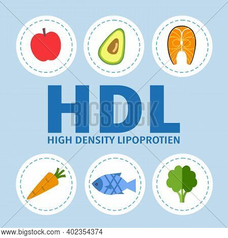 High Density Lipoprotein Hdl. Good Lipid From Healthy Food For Human Health. Vegetable, Fruit And Fi