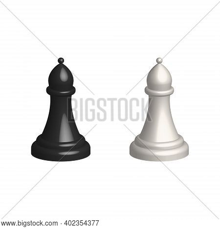 Chess Piece 3d Realistic Icon. Smart Board Game Elements. Chess Bishop Black And White Silhouettes V