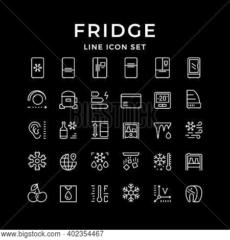 Set Line Icons Of Fridge, Refrigerator, Icebox Isolated On Black. Compressor, Regulator, Water Coole
