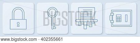 Set Line Lock, Paper Shredder, Old Key And Safe. White Square Button. Vector