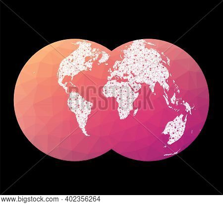 World Network Map. Nicolosi Globular Projection. Wired Globe In Nicolosi Projection On Geometric Low