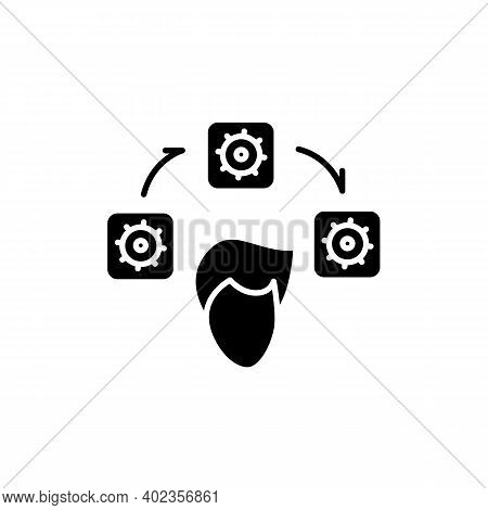 Workflow Glyph Icon. Person Head With Block Of Time Tasks With Gears Filled Flat Sign. Concept Of Mi