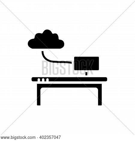 Work Data Cloud Storage Glyph Icon. Database. Workflow Optimization. Smart Emerging Technologies. Co