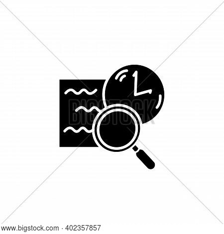 Comprehension Glyph Icon. Slow Reading With Magnifier And Clock Filled Flat Sign. Concept Of Attenti