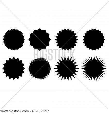 Star Burst Sticker Set. Set Of Blank Starburst, Empty Sunburst Badges. Set Of Retro Blank Starburst,