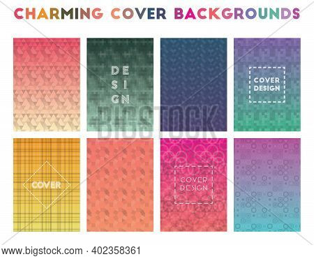 Charming Cover Backgrounds. Alluring Geometric Patterns, Glamorous Vector Illustration.