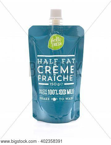 Swindon, Uk - January 8, 2021:  , Packet Of Hello Fresh Creme Fraiche Made From 100% British Milk
