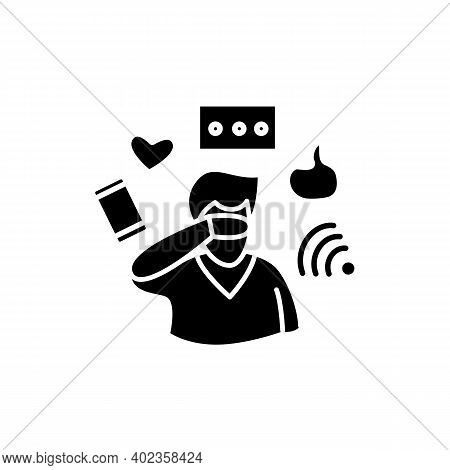 Attention Focus Glyph Icon. Man Ignoring Social Media Notifications. Concept For Mind Focus Manageme