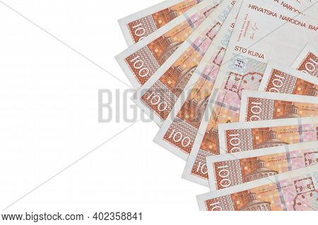 100 Croatian Kuna Bills Lies Isolated On White Background With Copy Space. Rich Life Conceptual Back