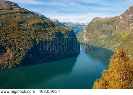 Magnificent View From The Observation Deck Of The Bends Of The Geirangerfjord, Norway