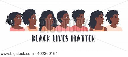 Black Lives Matter Poster With Protesting Multinational People. No Racism Concept In Cartoon Flat St
