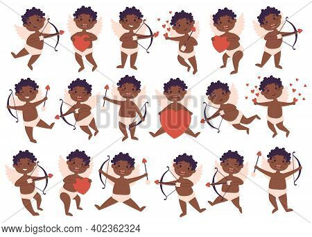 Amur African American Baby Angel Big Bundle Set. Cute Funny Cupid Little God Eros Greece Kids In Dif