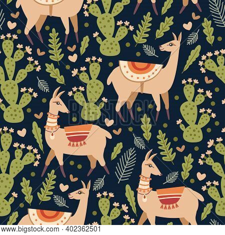 Vector Seamless Pattern With Llama And Cacti. Natural Hand Drawing Background With Desert Plants. Id