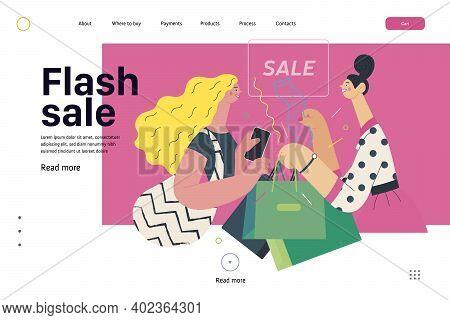 Discounts, Sale, Promotion - Web Template - Cash Desk - Modern Flat Vector Illustration Concept Of A