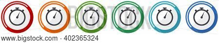 Stopwatch Icon Set, Flat Design Vector Illustration In 6 Colors Options For Webdesign And Mobile App