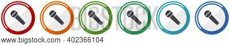 Microphone And Music Icon Set, Karaoke Flat Design Vector Illustration In 6 Colors Options For Webde