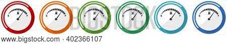 Fuel Gauge Icon Set, Car Petrol Dashboard Flat Design Vector Illustration In 6 Colors Options For We