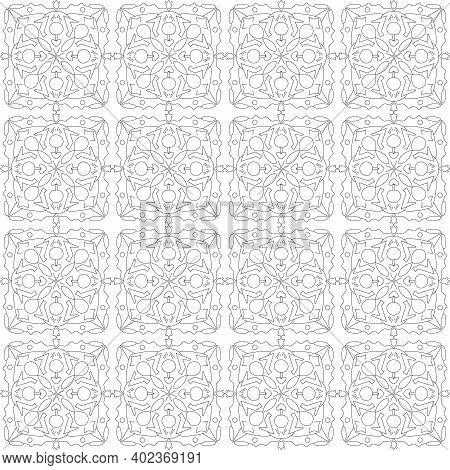 Doodle Tile Seamless Pattern. Textile Design. Colorless Vector Illustration. Scrabble Abstract Backg