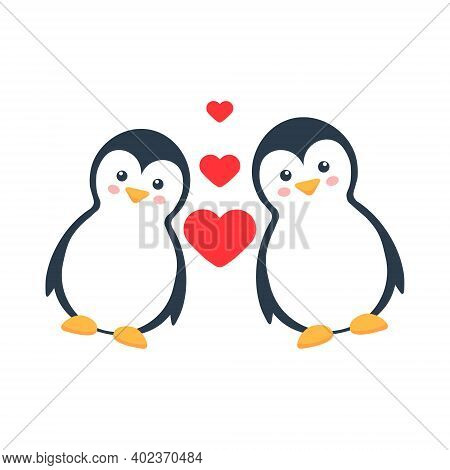 Cartoon Lovely Penguins Character. Cute Penguin Love Family With Hearts Vector Illustration Isolated