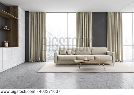 Wooden And Grey Minimalist Kitchen Set Near Window With Curtains. Sofa And Coffee Table On White Car