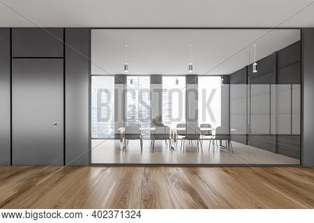 Black Office Conference Room With Parquet Floor, Black Chairs And Table. Meeting Room Behind Glass W