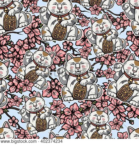 Vintage Asian Colorful Seamless Pattern In Vintage Style With Lucky Cats And Sakura Branches With Be