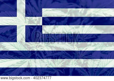 Leaf Of Cannabis Marijuana On The Flag Of Greece. Cannabis Legalization In The Greece. Weed Decrimin
