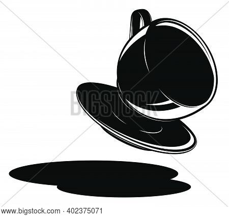 Falling Black And White Coffee Mug On White Background. Mess In Coffee Shop. Contrast Minimalistic V