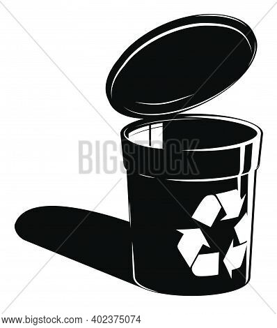 Black And White Recycle Bin With Recycling Sign. Container For Separating Garbage. Caring For Enviro