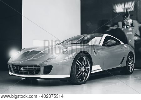 Kiev, Ukraine - April 22, 2012: Ferrari 599 Alonso Edition 60f1. Car For Sale. Ferrari Car Dealershi