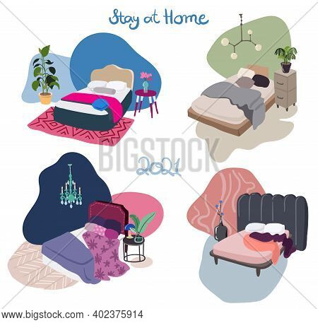 Vector Set Of Cosy Interior Design Drawings Of Bedroom, Stay At Home Concept