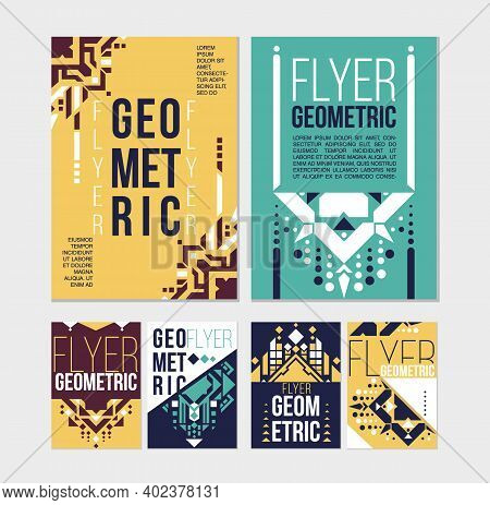 Geometric Abstract Flyers Template. Ethnic Element Design For Brochure. Isolated Flyer Design. Flyer