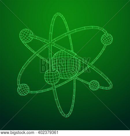 Planetary Model Of Atom With Nucleus And Electrons Spining On Orbits. Nuclear Nano Technology. Wiref