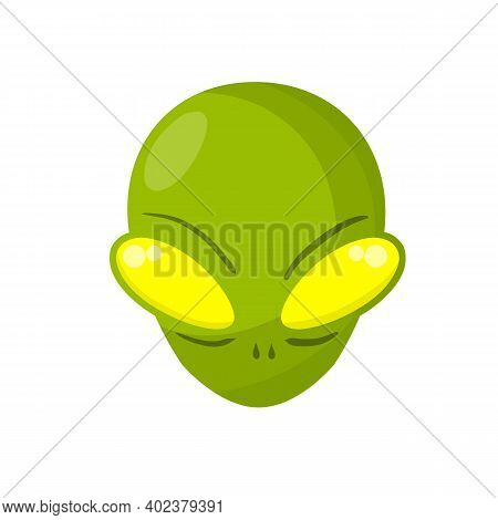 Alien. Extraterrestrial Monster With Green Head And Big Eyes. Martian And Ufo. Space Creature And Vi