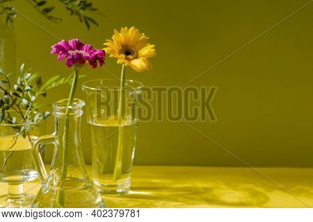 Gerberas In Glass Bottles On A Yellow Background. A Floral Minimalistic Concept In A Modern Interior