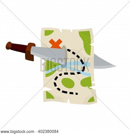Treasure Pirate Map And Sabre. Route With A Red Cross Of The Goal. The Path And Road With Sword. Old