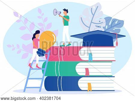 Young Men And Women Standing Near A Pile Of Books. Toga On The Book. Education, Business And Lifesty