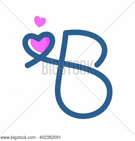 Simple And Clean Illustration Logo Initial Mono Line B With Heart.
