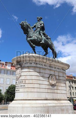 Lisbon, Portugal - June 5, 2018: Monument To King John I Of Portugal (john Of Aviz) In Lisbon. The S