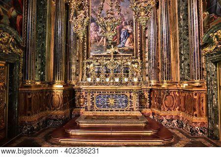 Lisbon, Portugal - June 6, 2018: Saint John The Baptist Baroque Style Chapel In Church Of Saint Roch