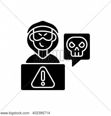 Cyberstalking Black Glyph Icon. Stalking Online From Anonymous Person. Online Hate. Internet Hate Co