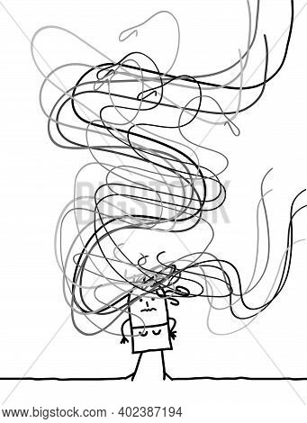 Hand Drawn Confused Carton Girl With Long Tangled Gray Hairs Around