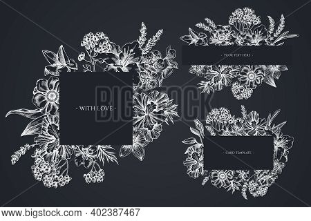 Floral Frames With Chalk Anemone, Lavender, Rosemary Everlasting, Phalaenopsis, Lily, Iris Stock Ill