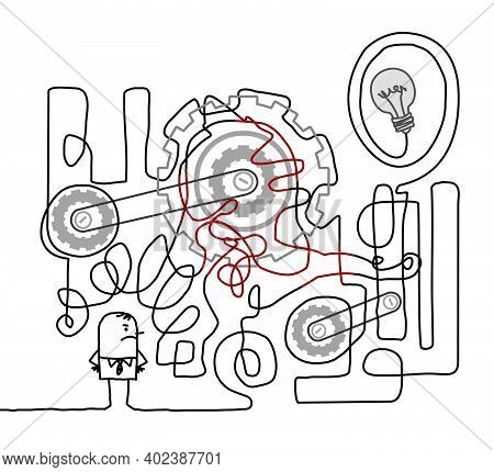 Hand Drawn Upset Cartoon Man With Big Tangled Machine That Does Not Work