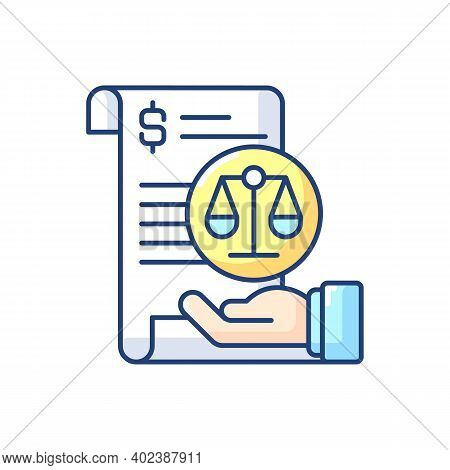 Balance Sheet Rgb Color Icon. Financial Statement That Reports About Company Money Assets And Busine