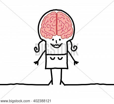 Hand Drawn Smiling Cartoon Clever Woman With Big Brain